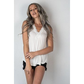 White Ribbed Lace Tank Top