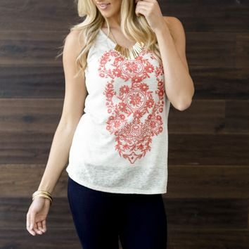 Red Floral Front Knit Racerback Tank Top