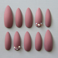 Stiletto Matte Swarovski Nails | Press On Nails | Fake Nails | False Nails | Glue On Nails | Acrylic Nails | Handpainted | Nail Art