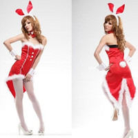 Chrismas Bunny Girl Rabbit Costumes Women Cosplay Sexy Halloween Adult Animal Costume Fancy Dress Clubwear Party Wear