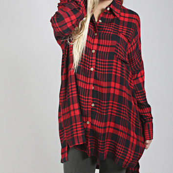 plaid and simple oversized tunic - red