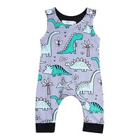 2018 Baby Kids Boy Girl Top Infant Short Sleeves Romper Jumpsuit Dinasour Clothes Outfit Summer Customize Set 0-24M SS