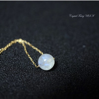 Tiny Gold Filled Moonstone Necklace - 14k Gold Filled Moonstone Choker - Single Bead Necklace