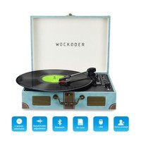 Wockoder Portable Record Player Vintage Turntable Bluetooth USB /SD,Blue