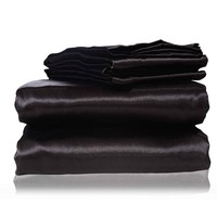 2017 new  silk Flat Sheet Fitted Sheet Pillow Cases Twin Full Queen King Sizes Nestl  Bedding Set with Deep Pocket Black