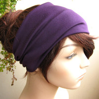 Deep Purple Turban Head Wrap, Women's Yoga Headband, Turband, Wide Head / Hair Band, Stretch Fabric, Fashion Hair Accessories