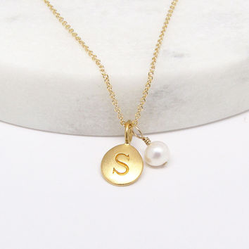 Initial & Pearl Charm Necklace