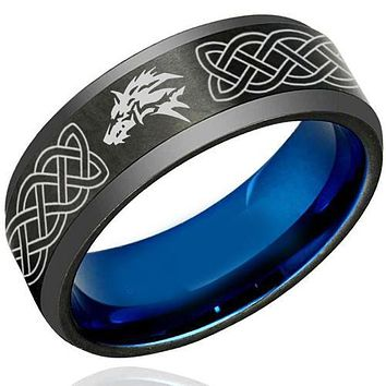 Black Engagement Rings Black Blue Tungsten Carbide Wolf Celtic Ring