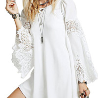 White Chiffon Swing Dress With Lace Splice Flare Sleeve