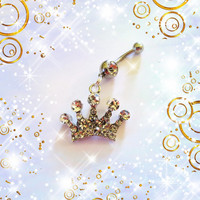 SALE-Belly Ring, The Mighty Silver Crystal Crown, Belly Button Ring, Belly Button Jewelry For women or Teens