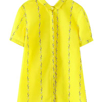 Yellow Ostrich Print Short Sleeve Blouse With Lapel Collar