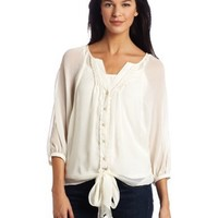 Democracy Women's 3/4 Sleeve Button Front Top with Pintucks