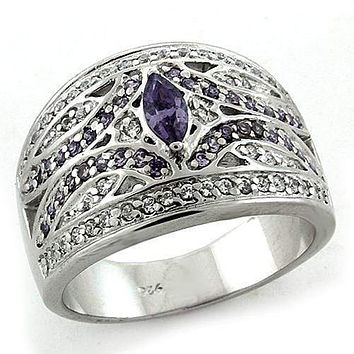 Mens Silver Wedding Ring LOAS1186 Rhodium 925 Sterling Silver Ring with CZ