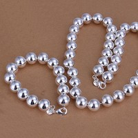 Bold Beads Silver Matching Bracelet and Necklace Set For Woman