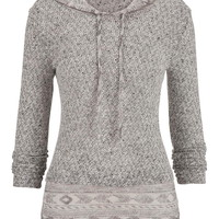 Ethnic Printed Trim Hooded Knit Pullover - Blue Jasmine Combo