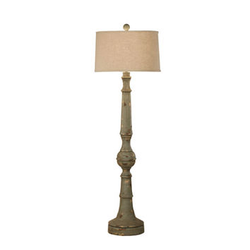 Zeugma Import 236C TALL Wooden Floor Lamp with Linen Shade