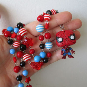 Spider-man necklace - Marvel -Beaded necklace - Geek Gear
