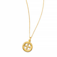 16in x 2in 14K Gold Plated Necklace with Cut Out Cross Design