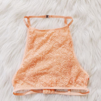 Aria Lace Cage Back Halter (Coral)