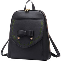 Black Bowknot PU Leather Backpack