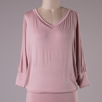 Banded Bottom Dolman Sleeved Top - Dusty Rose