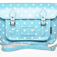 Baby Blue and White Polka Dot Leather Satchel