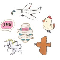 Bovvsky Small Brooches Enamel Plane Bird Plane brooch Metal Button Pins Brooch Pins Collar Hat Bijoux Scarf Pendant Clips