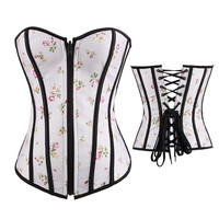 Floral Strapless Front Zipper Corset Tops
