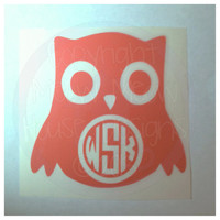 Monogrammed Owl Decal - Personalized 4 in x 4 in Sticker - Cute Custom Decal for Car - Many Colors Available
