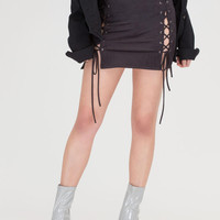 Turn Of The Tied Faux Suede Miniskirt GoJane.com
