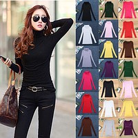 Fashion Women Elastic Sweaters Spring Summer Wool Turtleneck Long Sleeve Pullover Basic Shirt Tops Female Slim Solid Sweater