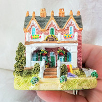 Aunt Alice's Quilt Shop Vintage 3 Inch Miniature Historic Building by International Resourcing Services, Resin Train Village Liberty Falls