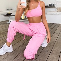 New fashion sports leisure top and pants two piece suit Pink