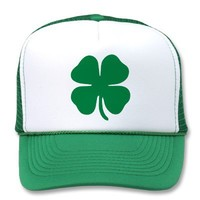 Lucky Four Leaf Clover Trucker Hat from Zazzle.com