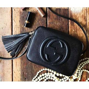 Gucci Hot Sale Women Shopping Leather Tassel Shoulder Bag Crossbody Satchel Black