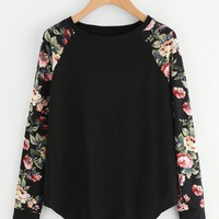 Floral Raglan Sleeve Curved Hem Top
