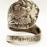 Little Red Riding Hood Sterling Silver Spoon Ring, Handcrafted in your size (3045)
