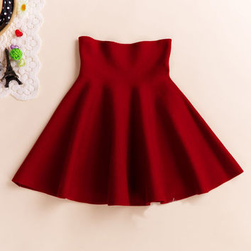 Spring Summer Casual Sexy Women Mini Skirt High Waisted Flared Pleated Jersey Plain Skater Short Knitted Elastic Skirt