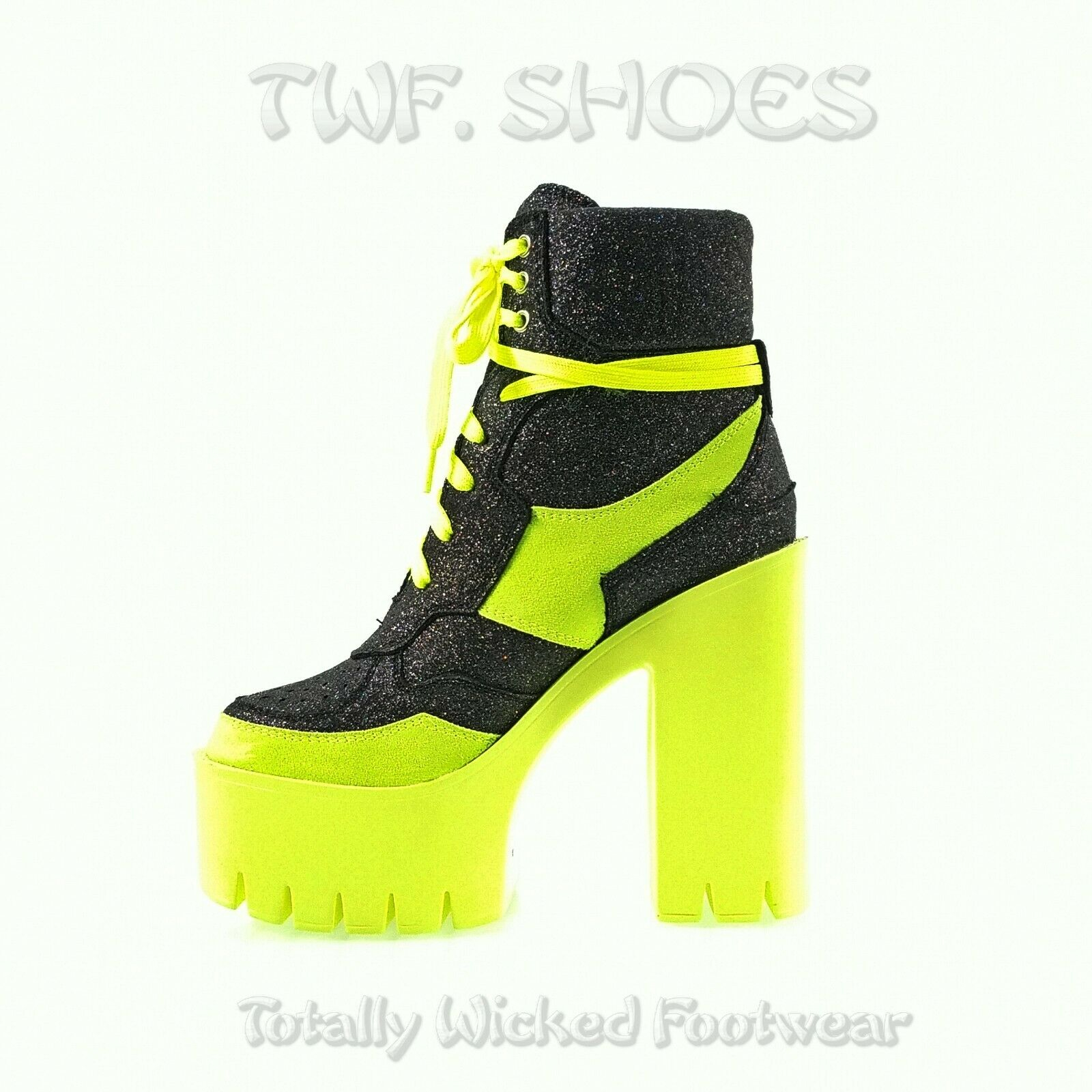 """Image of Penny Black Multi Glitter With Lime 5"""" Chunky Lug Sole Platform Heel Ankle Boots"""