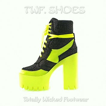 """Penny Black Multi Glitter With Lime 5"""" Chunky Lug Sole Platform Heel Ankle Boots"""