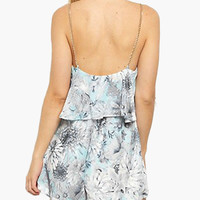 White Floral Print Backless Cropped Accent Chiffon Romper