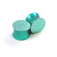 """Maze of Life Green Stainless Steel Double Flared Plugs - 2g 0g 00g (10mm) 7/16"""" (11 mm) 1/2"""" (13mm) 9/16"""" (14mm) 5/8"""" (16mm) Metal Gauges"""