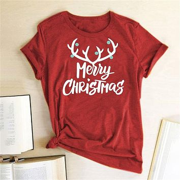 Funny T Shirt Women Graphic Tee Antlers Merry Christmas Printed T Shirt Short Sleeve Fashion Cute Christmas Tops Camiseta Mujer