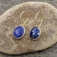 Lapis Round Gemstone 12mm Micron Gold Plated 925 Sterling Silver Dangle Earring - #1549