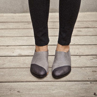Sale-20% OFF Two tone shoes-Grey flat pointy shoes colored black in the front. Designer shoes, comfortable walking shoes.