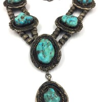 Old Pawn Navajo Turquoise Sterling Silver bench bead Necklace 122 grams