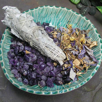 White Sage Smudge Stick with Amethyst and Blue Lotus