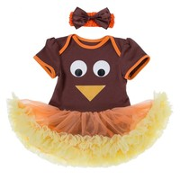 2PCS Graphic Turkey Tutu Romper and Headgear Thanksgiving Outfit Newborn