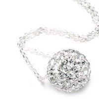 Authentic Diamond Color Crystals Ball Pendant, Includes Sterling Silver Chain 18 Inches Rolo. Now At