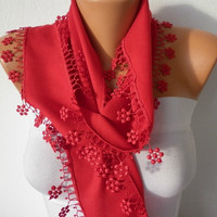 ON SALE - Red Scarf  -  Pashmina Scarf  -  Cowl with Lace Edge